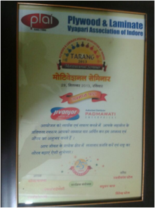 """Best Cooperation Award"" from the Raipur Plywood Traders Association and JACPL (Indore CPD Team) has received the ""Sanmaan Patra"" from the Plywood & Laminate Vyapari Association of Indore 2"