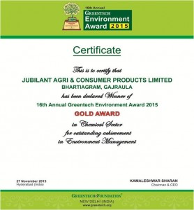 GOLD Award of GREENTECH ENVIRONMENTAL AWARD 2015 in Chemical sector for outstanding achievement in Environmental Management system 2