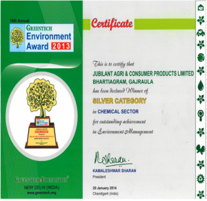 GREENTECH ENVIRONMENT AWARD in Chemical sector for outstanding achievement in Environment Management System for the year 2013 2