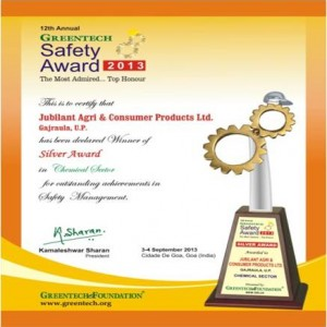 GREENTECH SAFETY AWARD 2013 in Chemical sector for outstanding achievement in Safety Management system for the year 2012-13. 2