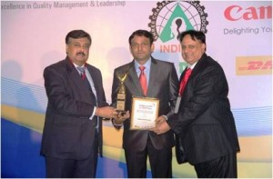 "Global Award for Excellence in Quality Management and Leadership on ""Best in Class Manufacturing"" during World Quality Congress Conclave on 22nd November 2012 at Mumbai"