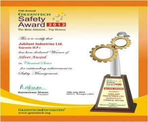 Greentech Safety Award 2012 – Silver Award – Chemical Sector for their outstanding achievement in Safety Management System 2