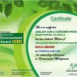Winner of 15th Annual Greentech Environment Award 2014 GOLD AWARD 2