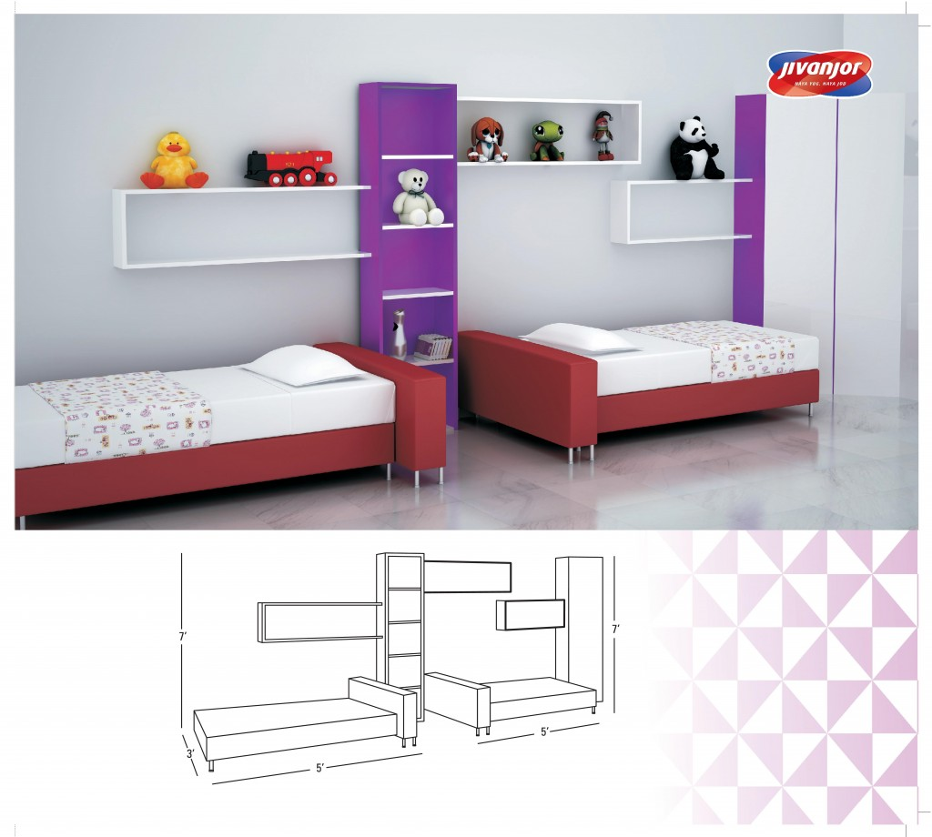 Kids Double Bed Interiors Design