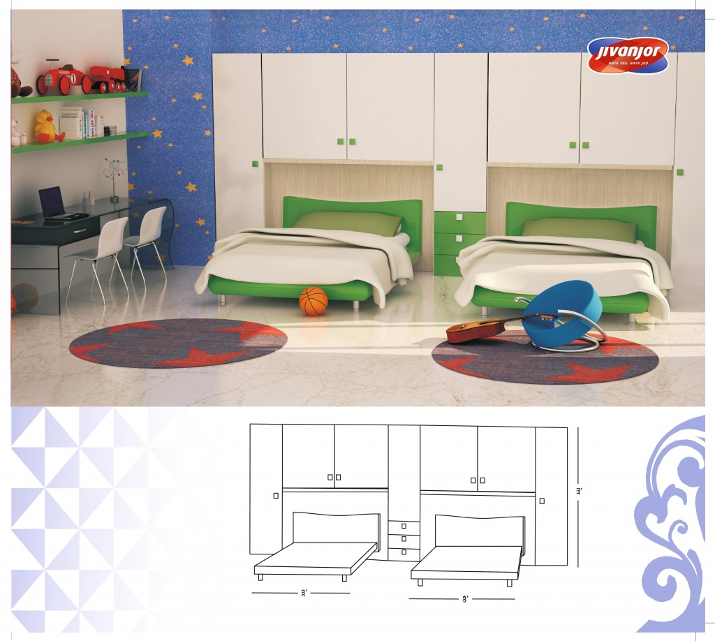 Design For Kids Double Bed Room With Separate Beds