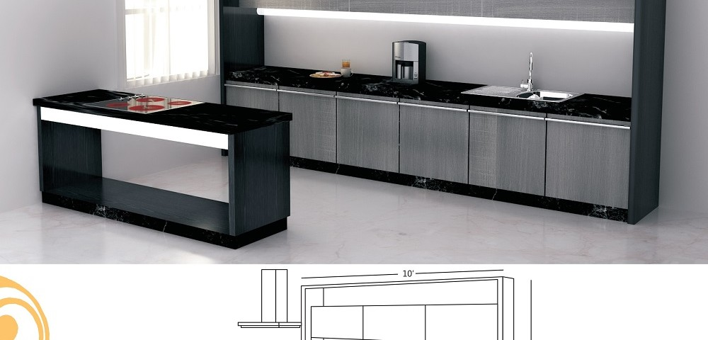 Single Line Large Kitchen Design With A Serving Table Part 31