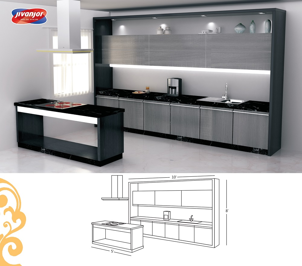 Single Line Large Kitchen design with a Serving Table