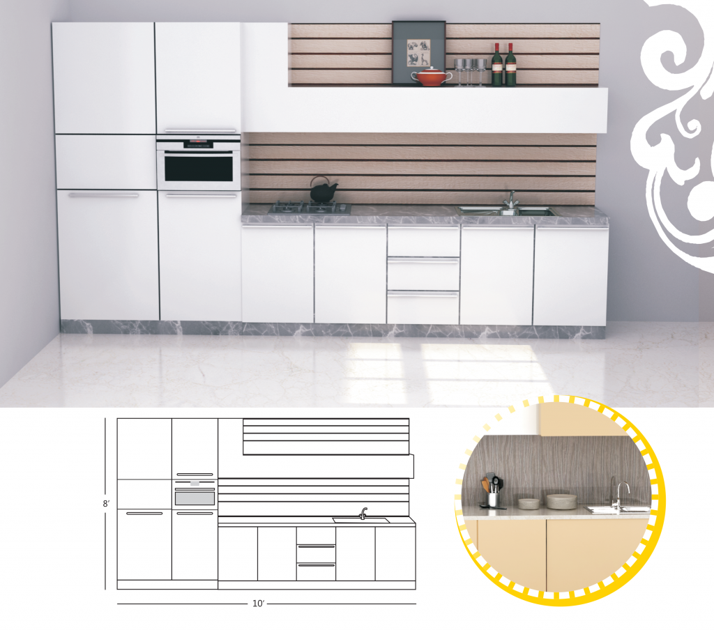 Single Line Kitchen Layout Ideas: Single Line Kitchen Design With An Inbuilt Oven