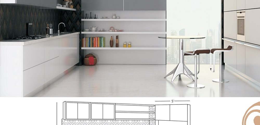 Single line large kitchen design with a serving table jacpl for Single line kitchen designs