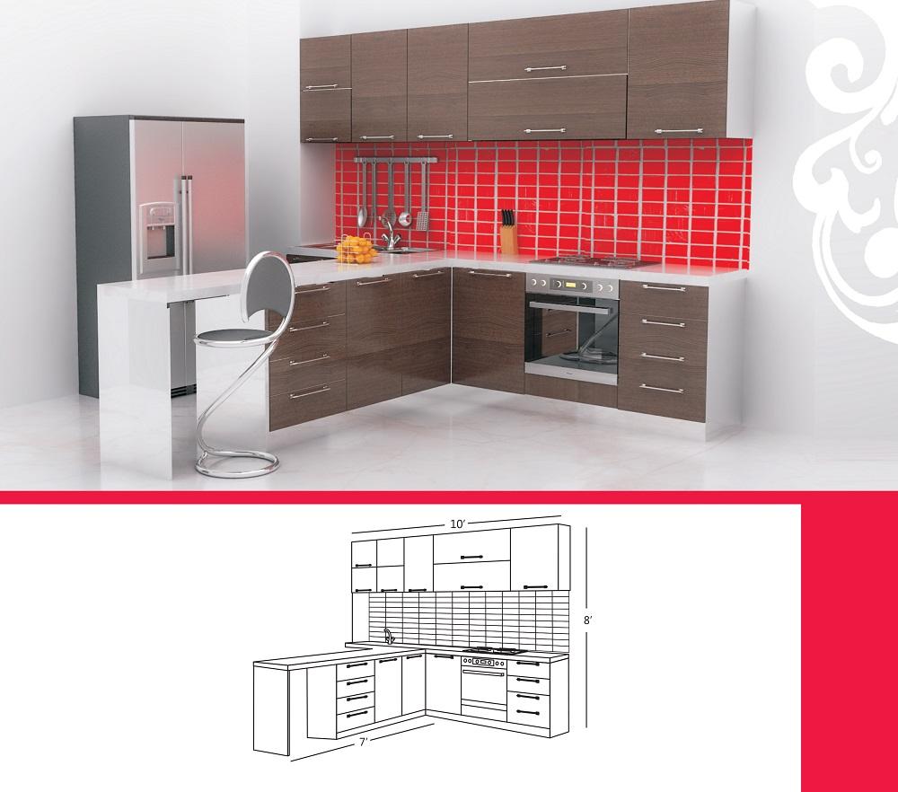 T Shaped Kitchen Design