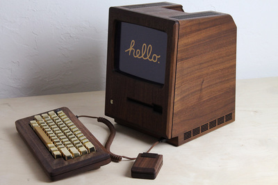 1984 Apple Macintosh ReCrafted with Wood & Gold 4