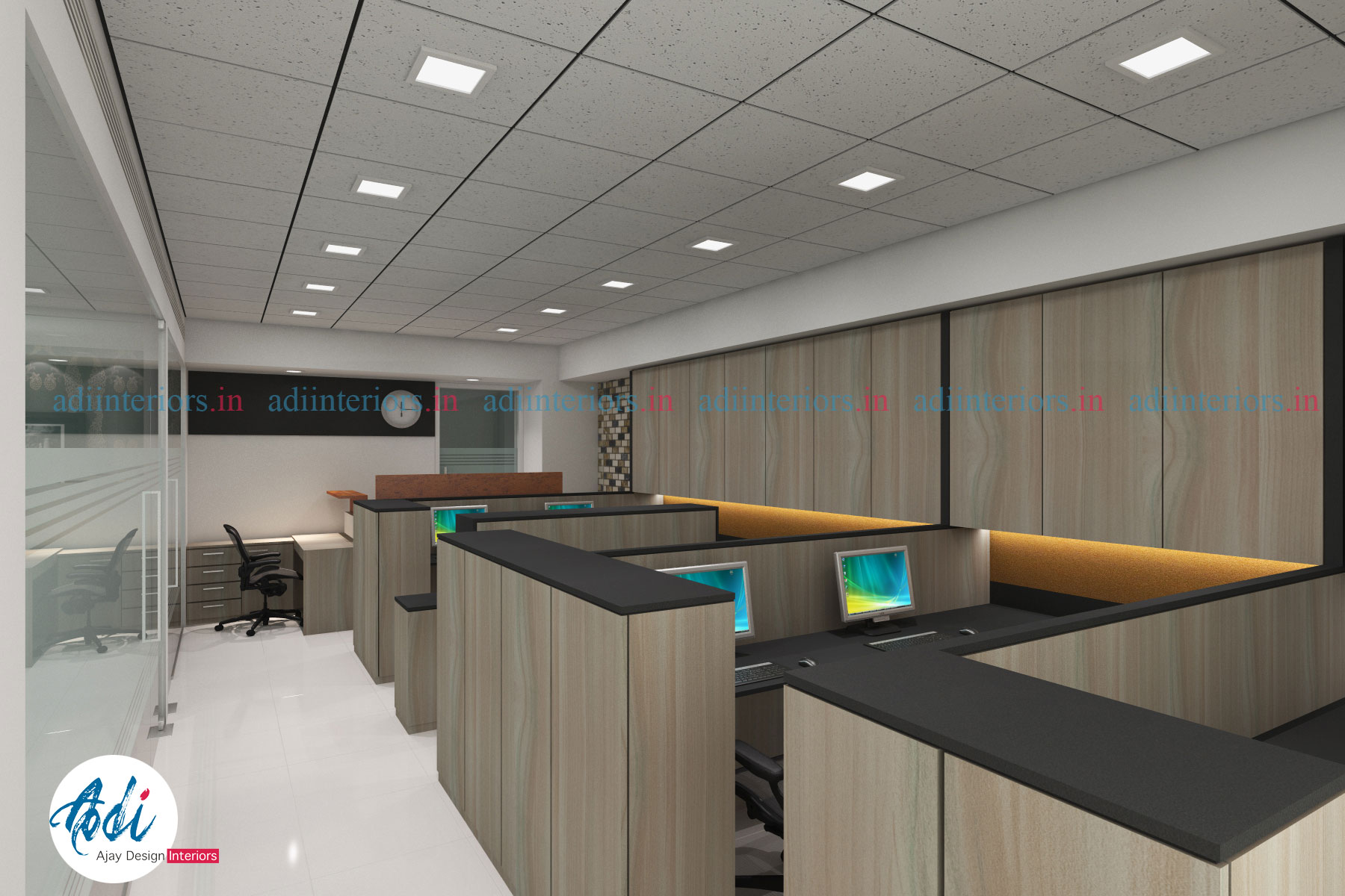 Design of a beautiful office by ajay design interiors jacpl for Beautiful office interiors